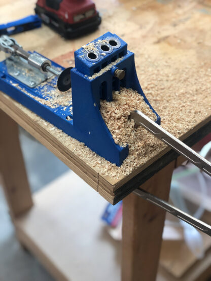 Kreg Jig on Workbench covered with sawdust