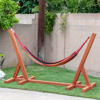 DIY Hammock stand in backyard