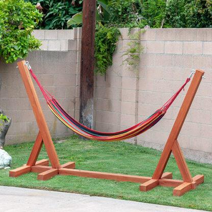DIY Hammock stand in backyard