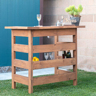DIY Wooden outdoor bar in backyard