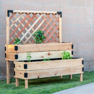 raised tiered planter in garden