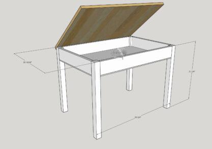Schematic of DIY kids desk with storage